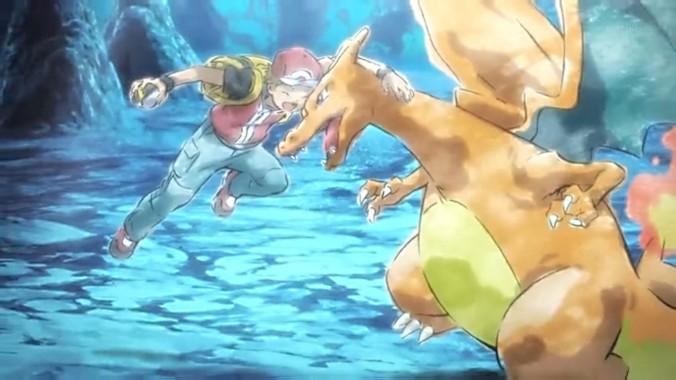 Pokémon The Origin: escena en que Red y Charizard vencen y capturan a Mewtwo.
