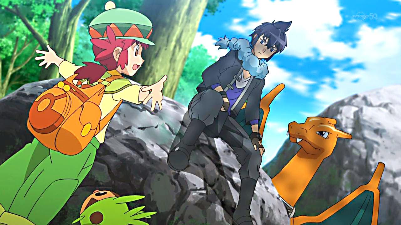 Pokémon Strongest Mega-Evolution: Alan y su Charizard junto a Manon y su Chespin.