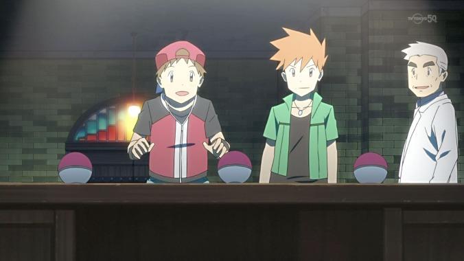 Pokémon The Origin: escena en que Red debe elegir a su primer pokémon.