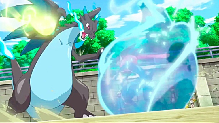 Pokémon XY & Z: Mega Charizard X de Alan en combate contra Greninja-Ash.