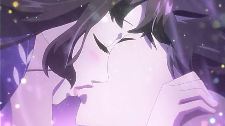Beso de despedida entre Kurumi (Q01) y Hal.