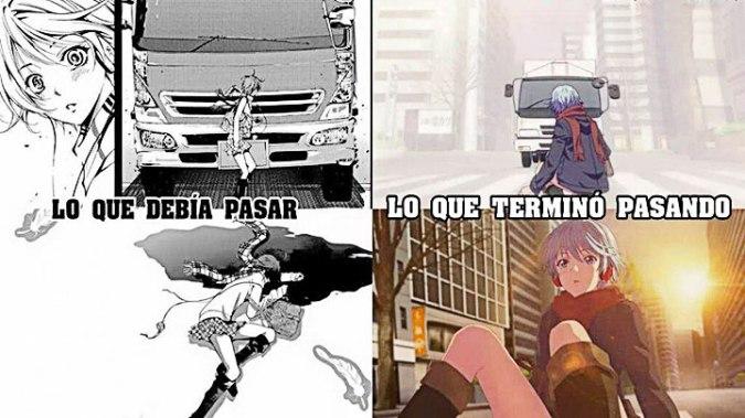 Meme sobre el destino de Fuuka en el anime y el manga.