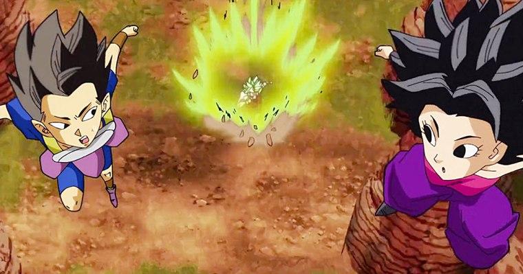 Kyabe y Caulifla escapando de Kale.