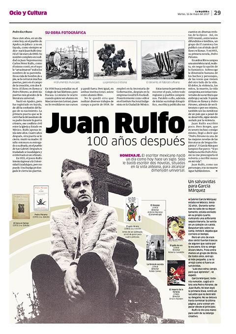 Página sobre Juan Rulfo (16 de mayo).
