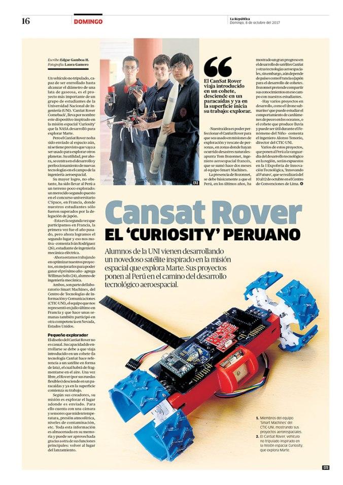 Página sobre Cansat Rover para la revista Domingo. Publicada el 8 de octubre de 2017.