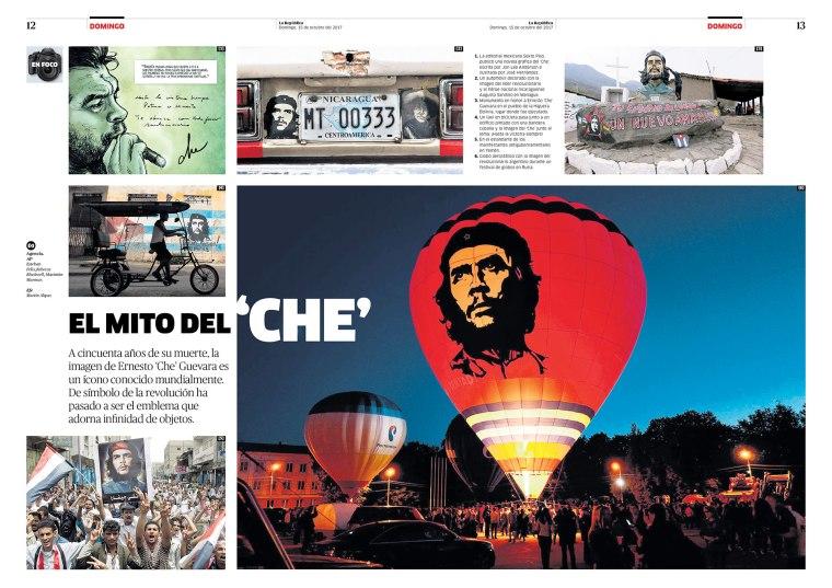 """Doble página sobre el """"Che"""" para la revista Domingo. Publicada el 15 de octubre de 2017."""