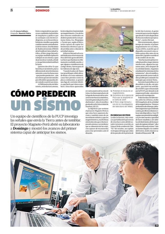 Página sobre predicción de sismos para la revista Domingo. Publicada el 1 de octubre de 2017.
