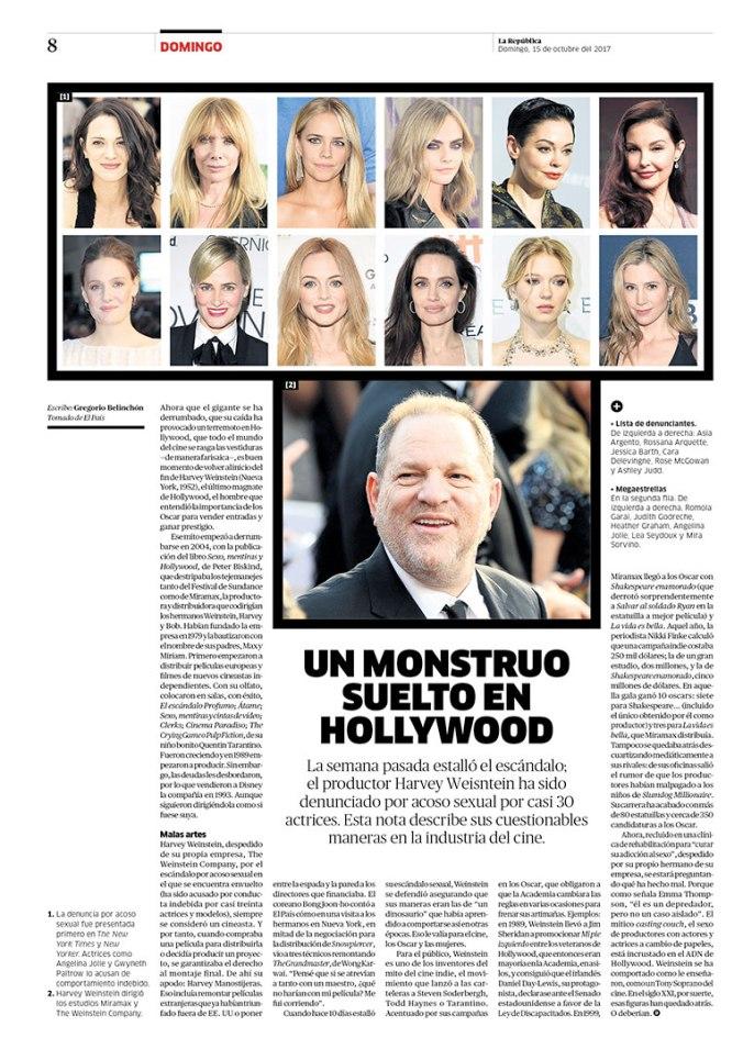 Página sobre Harvey Weinstein para la revista Domingo. Publicada el 15 de octubre de 2017.