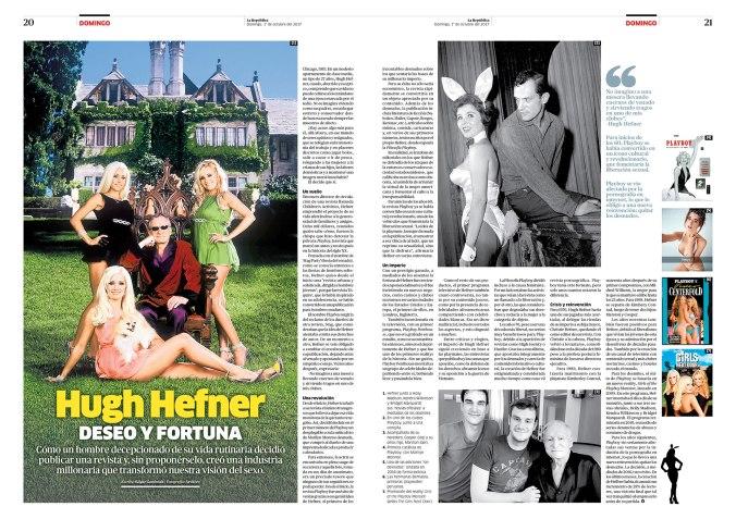 Doble página sobre Hugh Hefner para la revista Domingo. Publicada el 1 de octubre de 2017.
