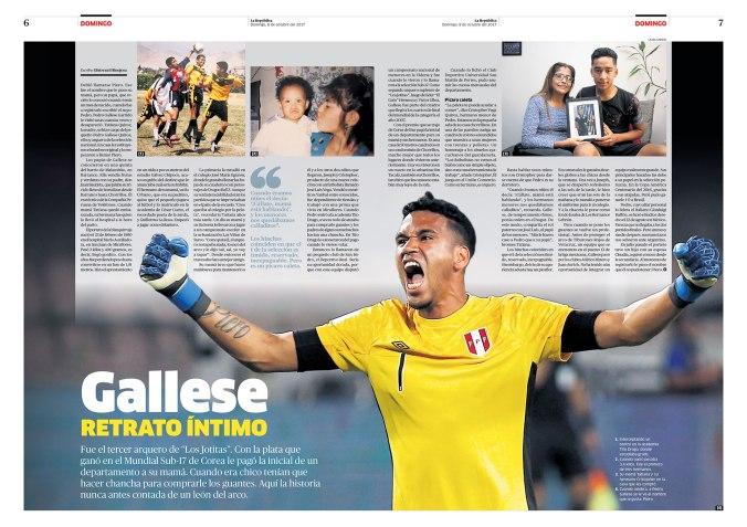Doble página sobre Pedro Gallese para la revista Domingo. Publicada el 8 de octubre de 2017.
