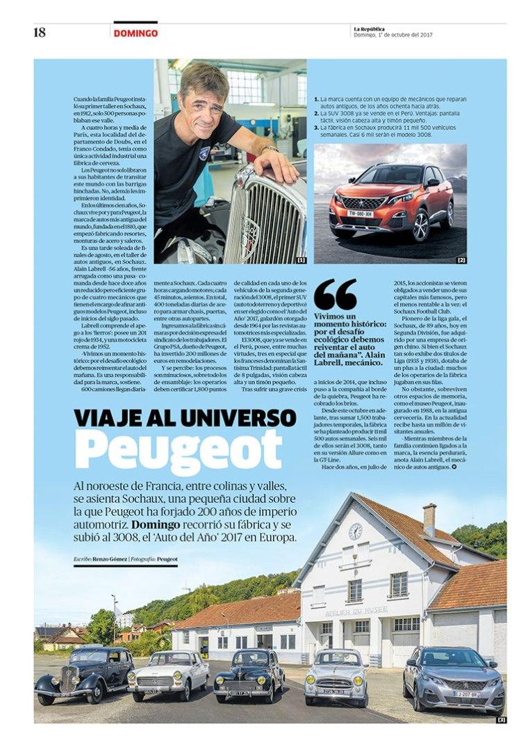 Página sobre Peugeot para la revista Domingo. Publicada el 1 de octubre de 2017.