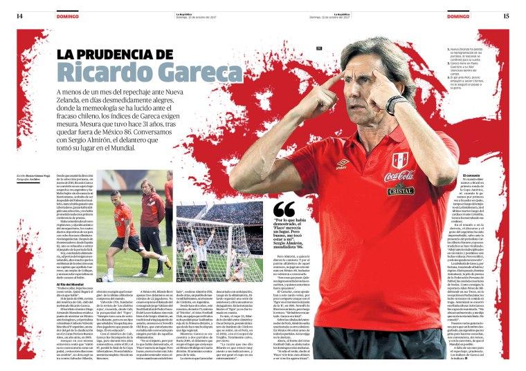 Doble página sobre Ricardo Gareca para la revista Domingo. Publicada el 15 de octubre de 2017.