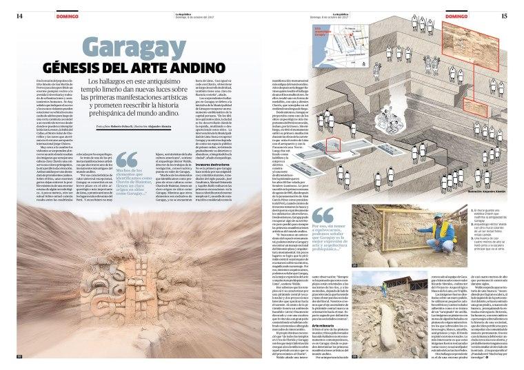 Doble página sobre el templo de Garagay para la revista Domingo. Publicada el 8 de octubre de 2017.