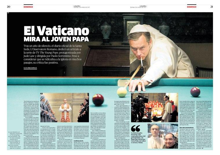 Doble página sobre Young Pope para la revista Domingo. Publicada el 8 de octubre de 2017.