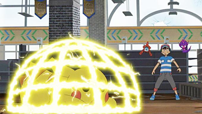 Pikachu aprende Eletrotela en combate contra Mimikyu.