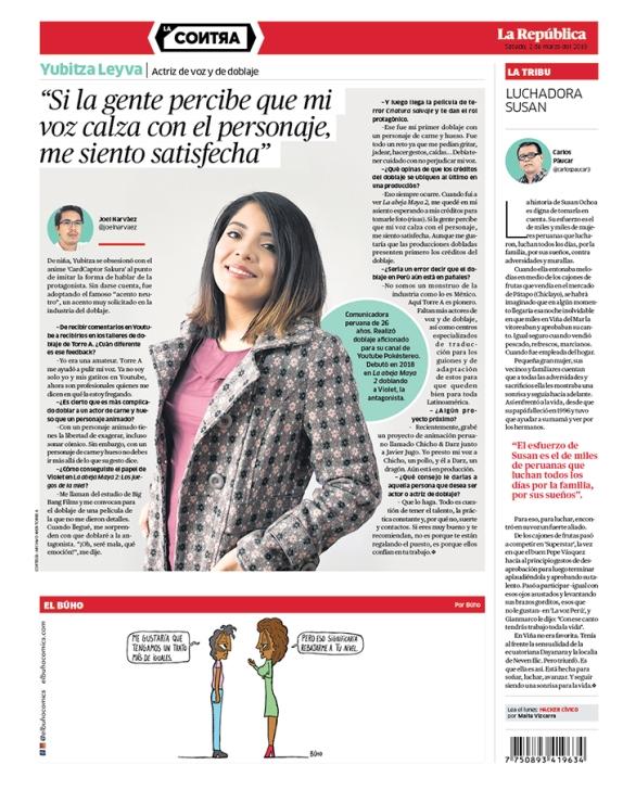 Entrevista a Yubitza Leyva, actriz de voz y de doblaje, en La Contra.